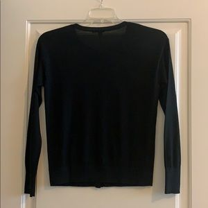 HALOGEN BLACK BUTTON-FRONT SWEATER SMALL